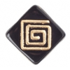 Glass Bead Flat Square 15mm With Top Drill Black/Gold - Strung